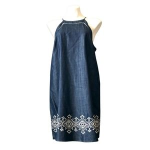 JOIE Dress L Sleeveless Chambray Embroidered